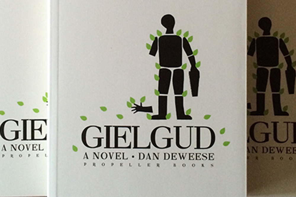 detail from the cover of Gielgud by Dan DeWeese
